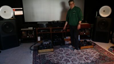 Gary Dahl with his Amity Amps and Horn Speakers